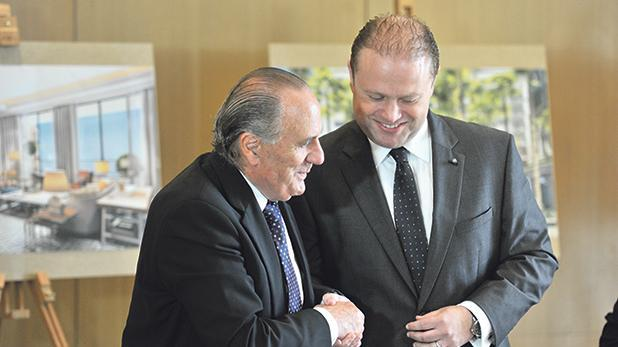 Prime Minister Joseph Muscat (right) with Corinthia chairman Alfred Pisani.