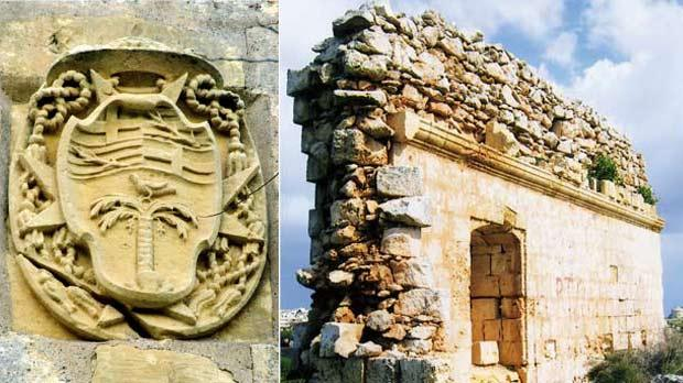 Bishop Cocco-Palmieri's coat-of-arms on the façade of the residence. Nearby, a notarial deed dated 1792 is also affixed. (Courtesy of Prof. Joseph Falzon). Right: Ruins of the ancient chapel of Santa Maria ta' Xuxa, overlooking Wied l-Isqof; here Bishop Baldassere Cagliares met his tragic death in 1633. (Courtesy of Romano Cassar)