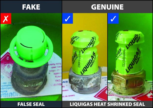 Left) The false green seal denoting abusive filling and (right) Liquigas seals guaranteeing properly filled cylinders. Photo: Liquigas