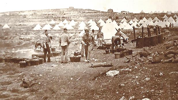 Mellieħa camp, 1898 manoeuvres. Photographer unknown.