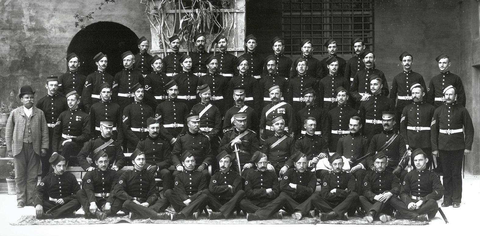 RAMC Valletta Hospital, June 1894: Surgeon Captain Matthew Louis Hughes is seated second from right and Prof. Col. Manché is two seats away, fourth from right.