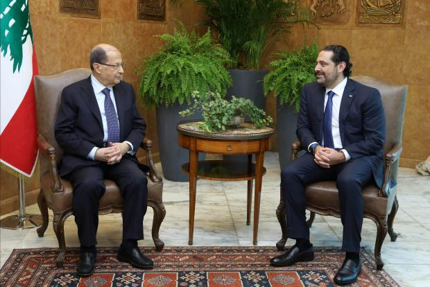 Lebanese President Michel Aoun meets with Prime Minister Saad al-Hariri at the presidential palace in Baabda, Lebanon, on November 27, 2017. Photo: Reuters