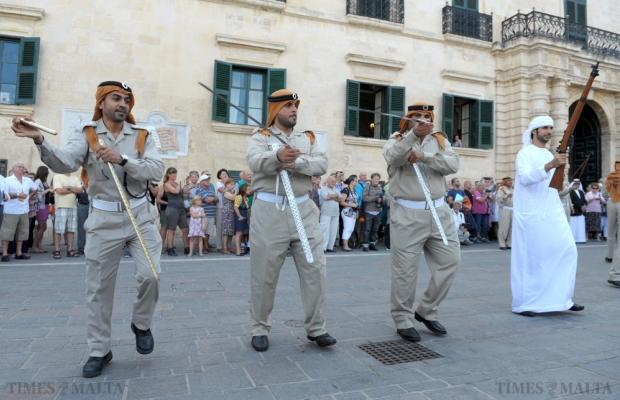 Members of the Abu Dhabi Police Force Band perform in St George's Square, Valletta on October 11. Photo: Matthew Mirabelli