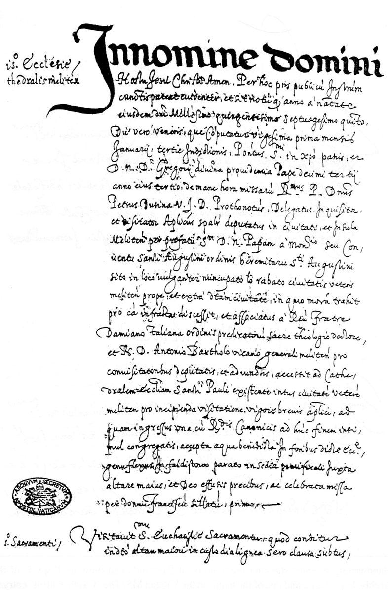 The beginning of the report of Mgr Pietro Dusina's apostolic visitation of Malta in 1575. Photo: Courtesy Vatican Secret Archives