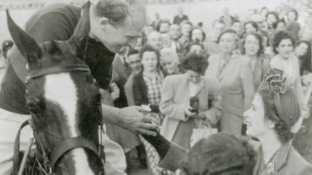 Princess Elizabeth congratulating her future husband, the Duke of Edinburgh, after a polo match at Marsa. Photo courtesy of Marsa Sports Club