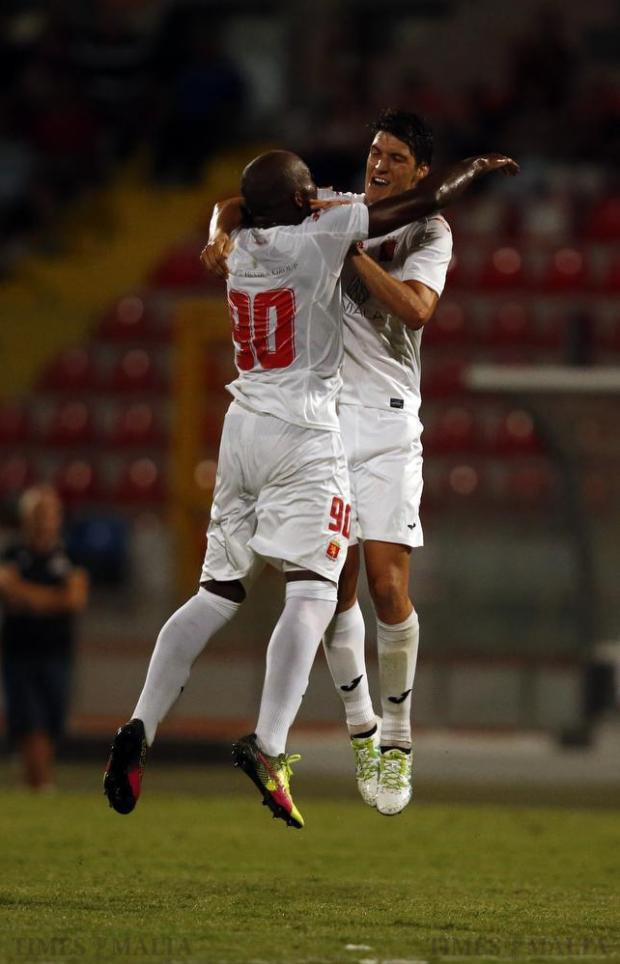 Valletta's Federico Falcone (right) celebrates with Romeu Romao after he scored a spectacular goal against Pembroke Athleta during their Premier League football match at the National Stadium in Ta' Qali on September 10. Photo: Darrin Zammit Lupi