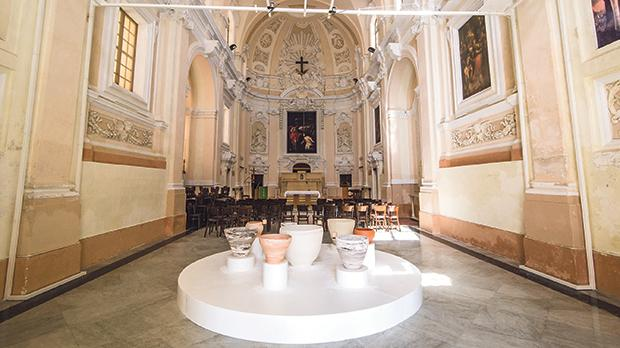 The installation Swing Jam at the church of St Mary Magdalene in Valletta by South Korean artist Kyung-Jin Cho. Photo: Elisa von Brockdorff