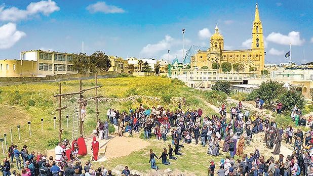 The crucifixion of Jesus Christ was re-enacted at Għajnsielem in Gozo yesterday afternoon. Photo: Daniel Cilia