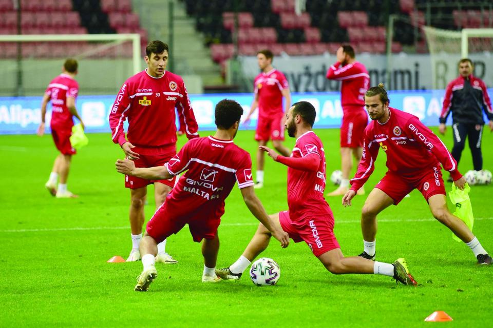 Malta players go through their paces in Trnava. Photo: Mark Zammit Cordina
