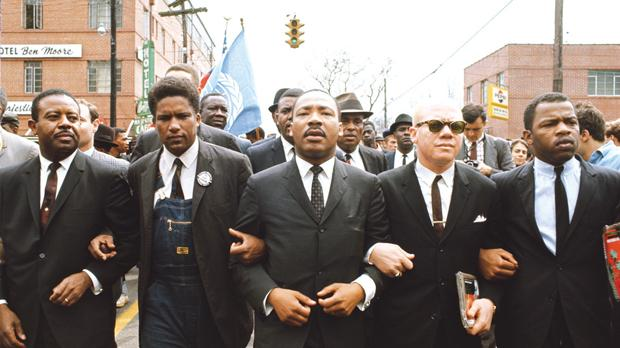 March 1965: Martin Luther King leading the march from Selma to Montgomery to protest lack of voting rights for African Americans. Beside King is John Lewis, Rev Jesse Douglas, James Forman and Ralph Abernathy.