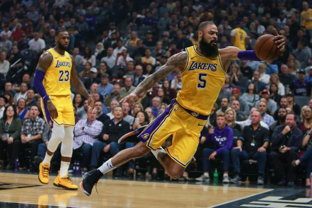 Los Angeles Lakers center Tyson Chandler (5) attempts to keep the ball in bounds during the fourth quarter against the Sacramento Kings at Golden 1 Center. Mandatory Credit: Sergio Estrada-USA TODAY Sports