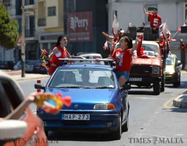Malta Labour Party supporters celebrate the winning of the general election and the re-electing of Prime Minister Joseph Muscat in Sliema on June 4. Photo: Matthew Mirabelli