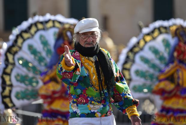 Paul Curmi known as Pampalun, dances on stage in St George's Square, Valletta during carnival on February 11. Photo: Mark Zammit Cordina