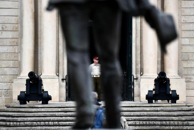 An AFM soldier stands on duty by the Castille door on April 20. Photo: Jonathan Borg
