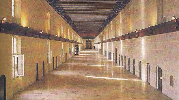 The Long Ward of the Sacra Infermeria, where the School of Anatomy and Surgery was established. It is now part of the Mediterranean Conference Centre in Valletta.