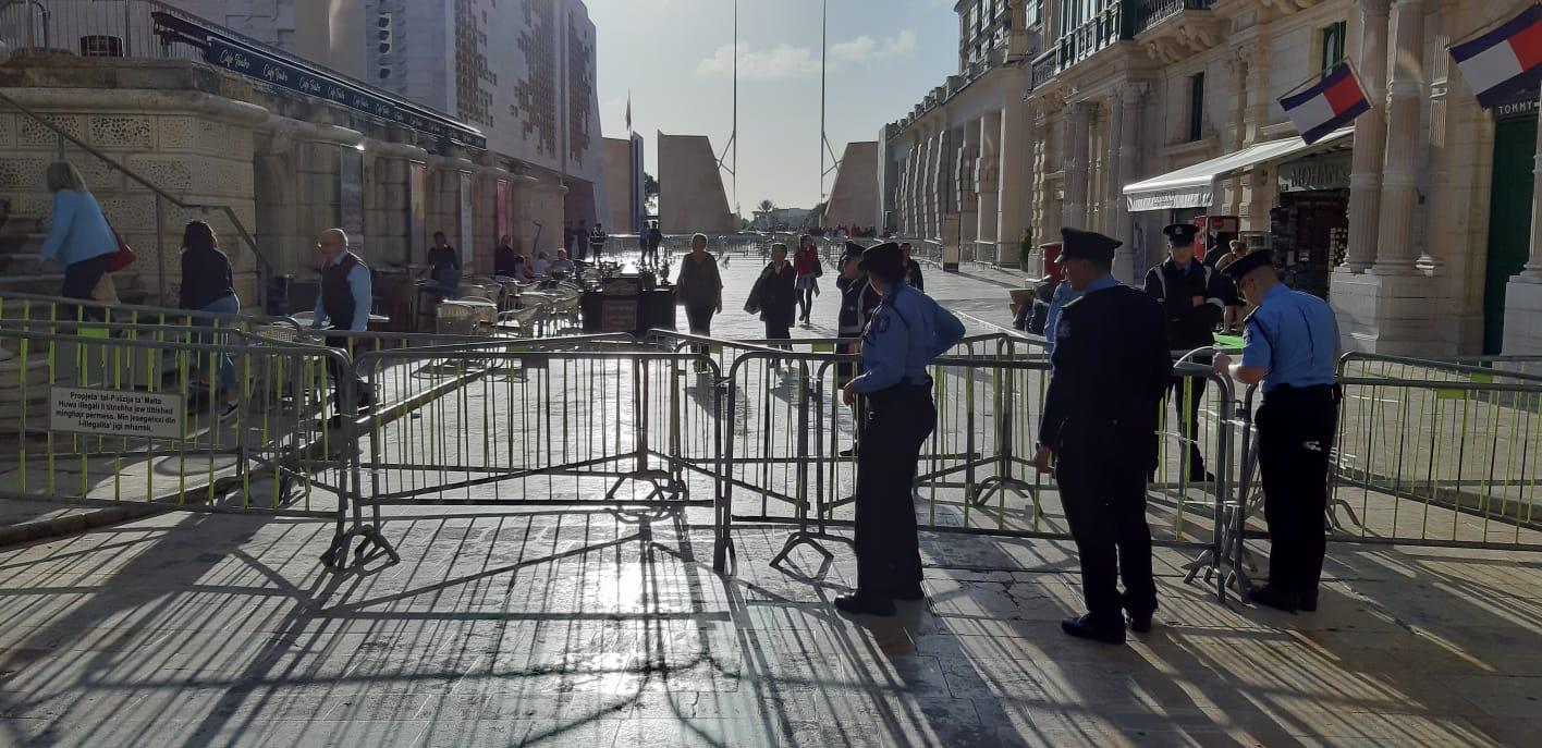 Access to Freedom Square from Republic Street has also been restricted. Photo: Chris Sant Fournier