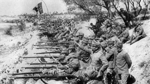 Italian troops on the banks of the lower Isonzo.
