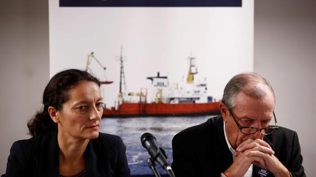 Sophie Beau, Vice-President of the International Network of SOS Mediterranee, and Francis Vallat, President of SOS Mediterranee France, attend a news conference about the Aquarius.