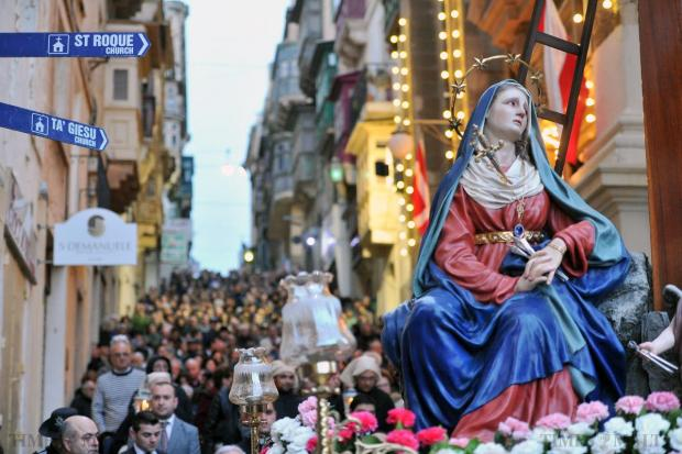 The traditional Our of Lady of Sorrows procession takes place in Valletta on March 27. Photo: Jason Borg