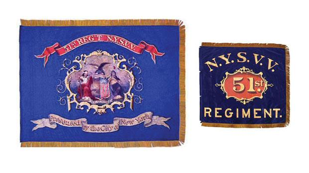 Regimental colours and flank marker of the 51st New York Infantry Regiment. Photo: New York State Military Museum and Veterans Research Centre