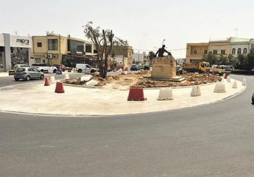 Slippery concrete greets motorists at Żebbuġ roundabout