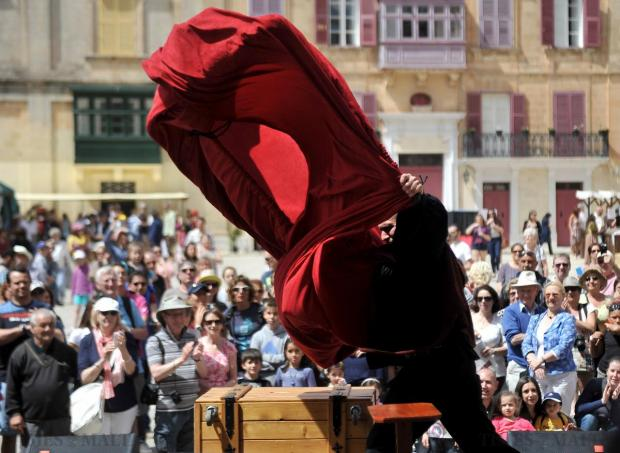 A magician performs a trick at the Medieval Fest in Mdina on April 18. Photo: Chris Sant Fournier