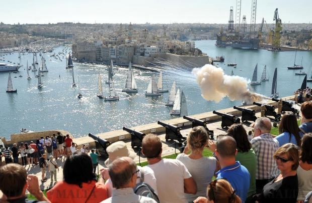Sail boats start the Rolex Middle Sea Race in Grand Harbour on October 22. Photo: Chris Sant Fournier
