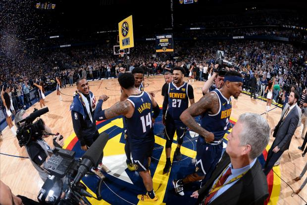 The Denver Nuggets react after Game Seven of Round One.