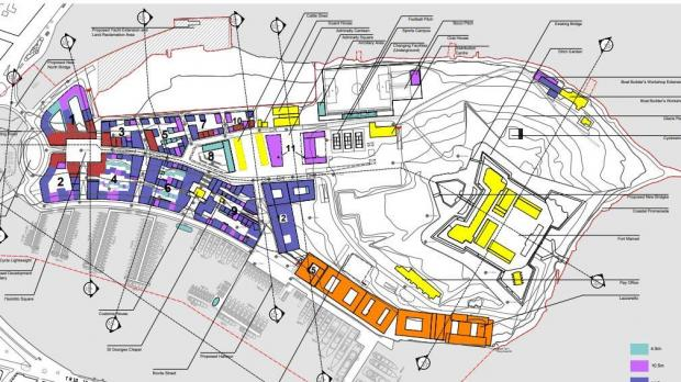 Previous plans for Manoel Island. Areas shaded in purple represent three floors, while those in red represent four floors.