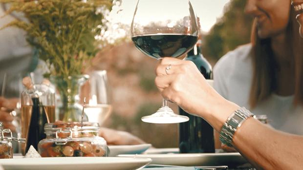 Chill your wine well when dining outdoors in summer.