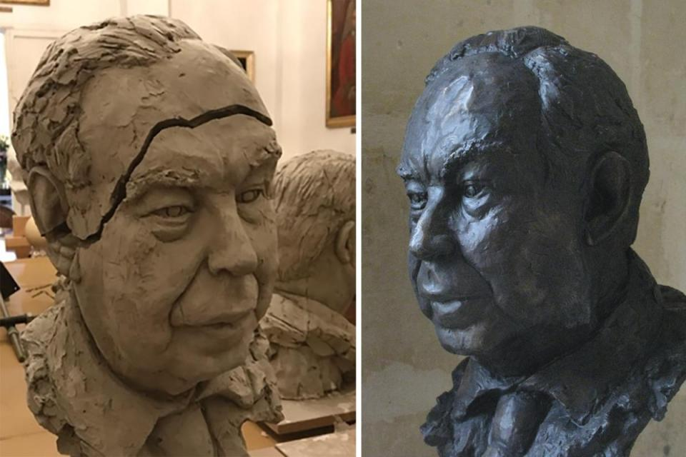 The clay original bust (left)and the finished bronze.