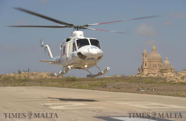 The inaugural flight of the Air Ambulance service between Gozo and Malta lands at the Xewkija Heliport on August 6. Photo: Matthew Mirabelli
