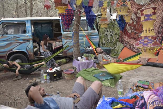 People relax in hammocks during the Earth Garden festival in Ta' Qali National Park on June 6. Photo: Mark Zammit Cordina