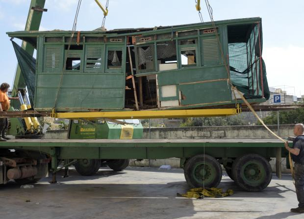 The remains of an old train cabin being lifted and taken for restoration in Birkirkara on April 7. PHOTO: MARK ZAMMIT CORDINA.