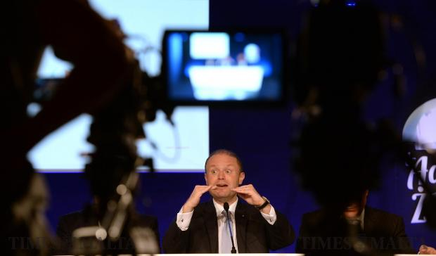 Prime Minister Joseph Muscat addresses members of the press during a press conference at the Labour Party Headquarters in Hamrun on May 29. Photo: Matthew Mirabelli