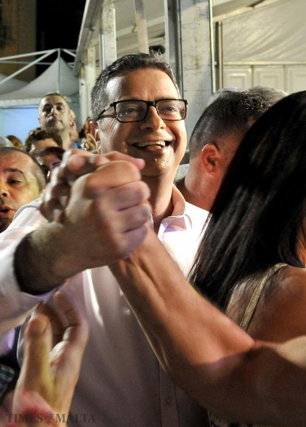 A jubilant Adrian Delia is welcomed to the Granaries by worshipping fans on his first day as PN leader on September 17. Photo: Chris Sant Fournier