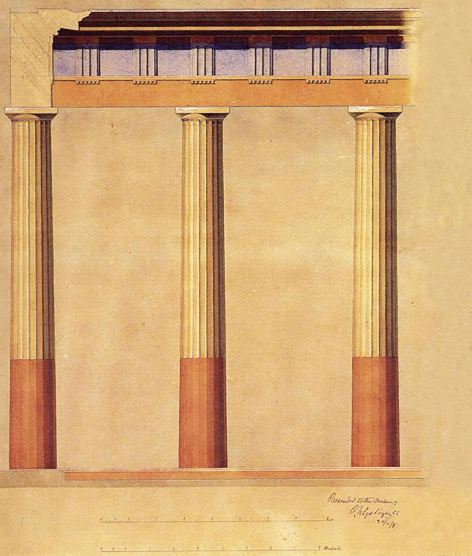 A reconstructive drawing by architect Galizia of the colonnade around the peristyle.