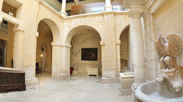 The internal courtryard , with its arches and fountain, was also totally restored.
