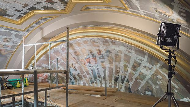 Calì's wall paintings in the chapel of St Dominic during treatment.