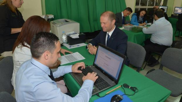 Prime Minister and PL leader Joseph Muscat submitting his nomination. Photo: PL