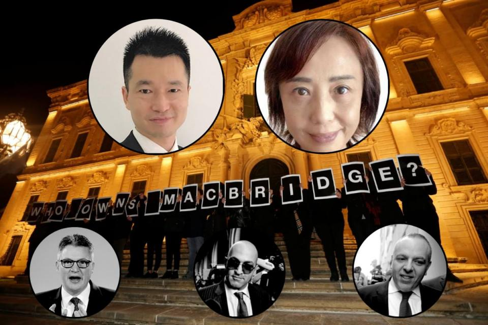 The secret company Macbridge is owned by Tang Zhaomin, the mother-in-law of Chen Cheng, top,  a year-long investigation by Times of Malta and Reuters and other partners has revealed. Main photo: Darrin Zammit Lupi/Reuters