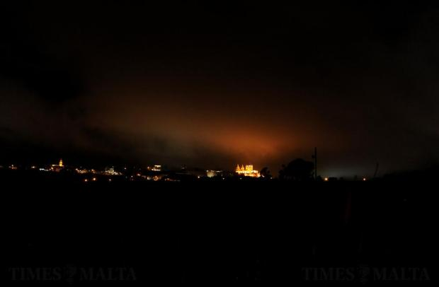 The low clouds are illuminated by the Mdina lights on November 15. Photo: Chris Sant Fournier