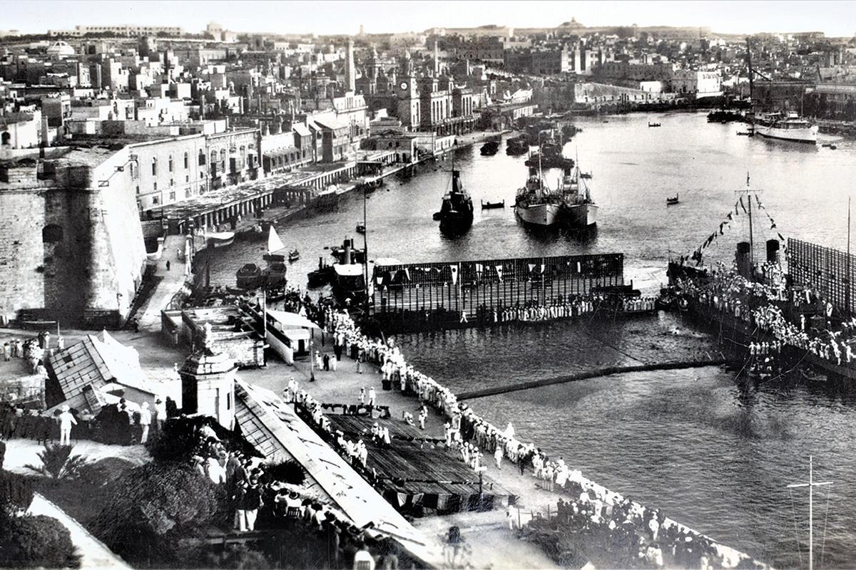 Naval celebrations below Fort St Angelo, 1920s.