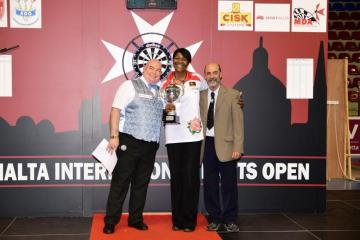 Deta Hedman (centre) reacts after winning the Ladies Open.