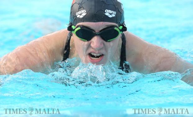 Vladyslava Kravchenkowill trains at the National Pool in Tal-Qroqq on August 26 in preparation for the Paralympic Games in Rio. The 25-year-old will be competing for Malta as the country's first ever female swimmer at the Games and the first female Paralympian representing the country since 1980. A former gymnast, Ms Kravchenko suffered a spinal cord injury after a lighting structure fell on her during a party in Qawra back in September 2008. Photo: Matthew Mirabelli