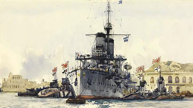 A painting of the Japanese cruiser Nishin flanked by four Japanese submarines in Grand Harbour. Photo: Imperial War Museum