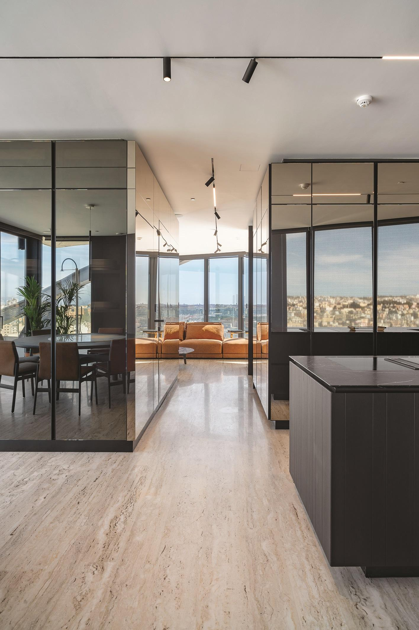 East Penthouse, Gżira: a residence using spatial zoning as an alternative to conventional, open-plan living. Photo: Alex Attard