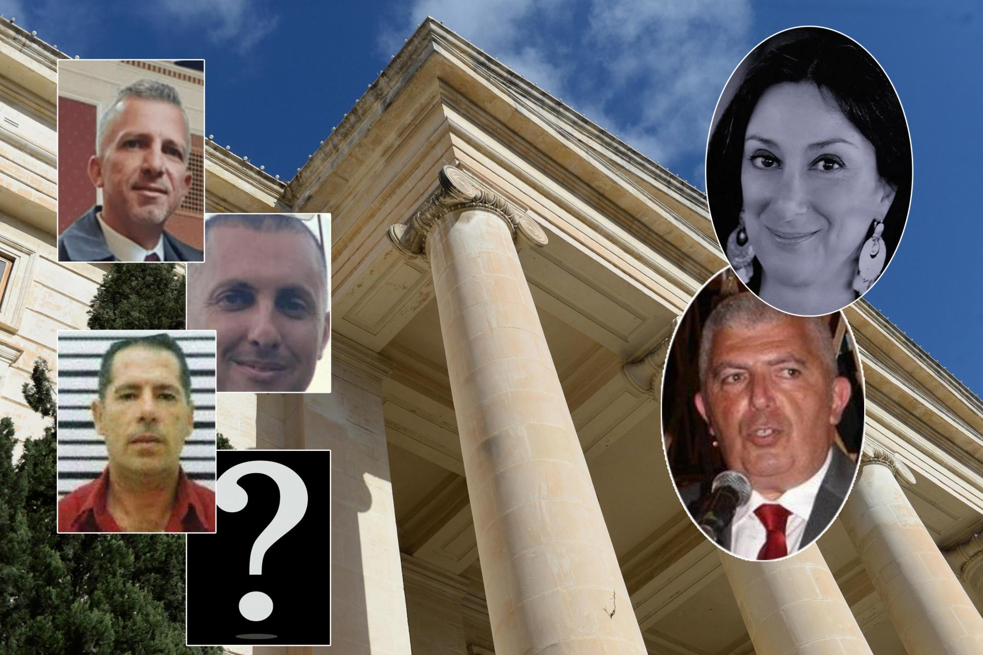 From left, top: Robert Agius, Adrian Agius, George Degiorgio and Jamie Vella faces charges related to the separate murders of Daphne Caruana Galizia and Carmel Chircop.