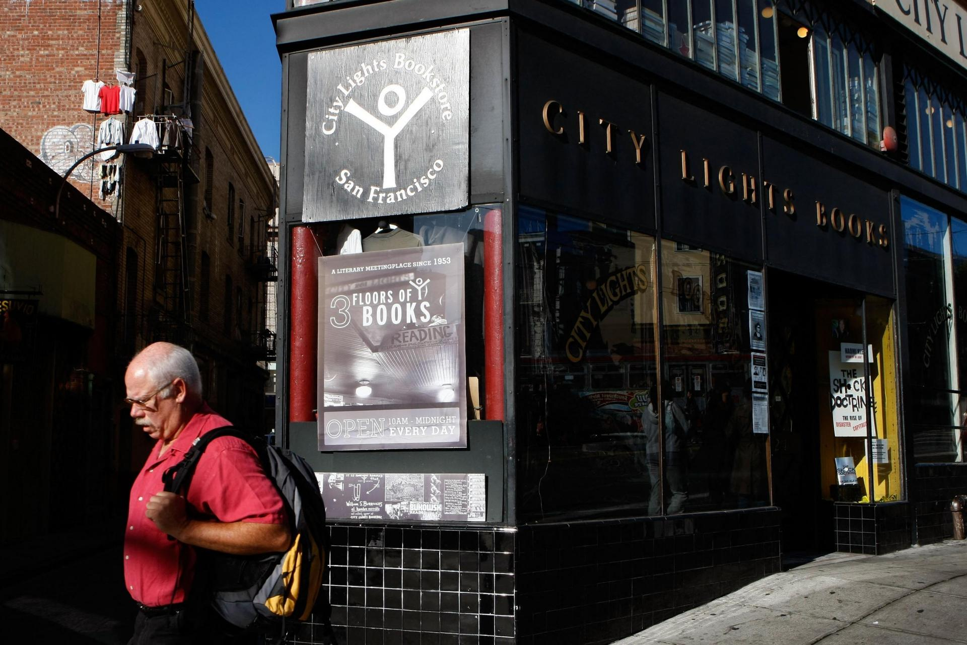 A man passes in front of the famous bookshop. Photo: Justin Sullivan/Getty Images North America/AFP