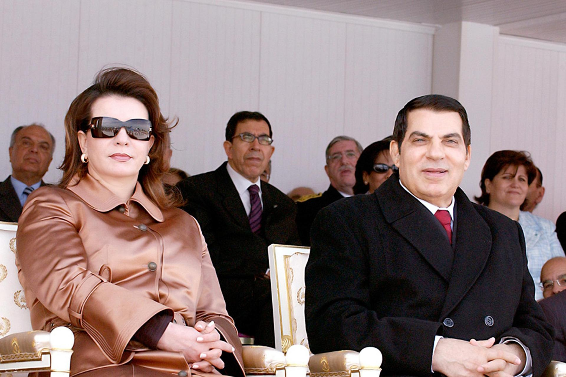 In this file photo taken on March 21, 2006, Tunisian president Zine El-Abidine Ben Ali and his wife Leila attend at the parade during ceremonies for the 50th anniversary of Tunisia's independence. Photo: Tunisian Presidency / AFP
